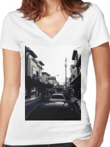 A street in Konya Women's Fitted V-Neck T-Shirt