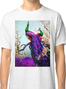 """PEACOCK FAMILY"" Art Deco Landscape Print Classic T-Shirt"