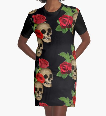 Skulls Roses Arrow Graphic T-Shirt Dress