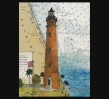 Ponce Inlet Lighthouse FL Nautical Map Chart Cathy Peek One Piece - Short Sleeve