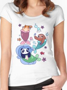 Mermaid Sloth Cat and Panda Women's Fitted Scoop T-Shirt