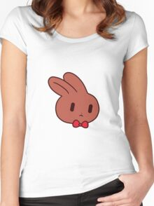 Bowtie Bunny Face Women's Fitted Scoop T-Shirt