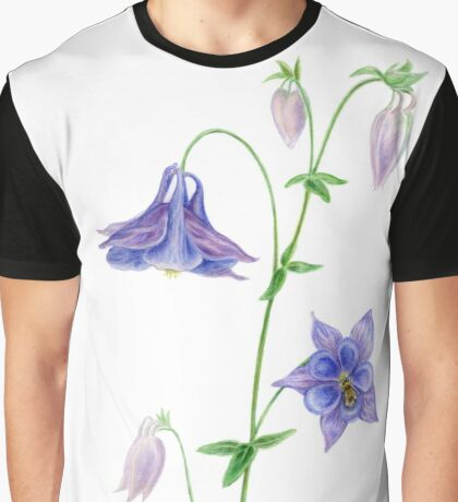 Aquilegia, Columbine, Granny's Bonnet (with Bumblebee) Graphic T-Shirt