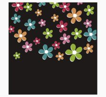 Scattered Flowers on Black One Piece - Short Sleeve
