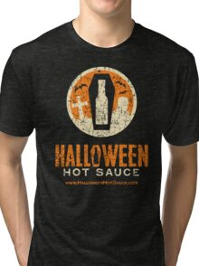 Halloween Hot Sauce Distressed logo Tri-blend T-Shirt