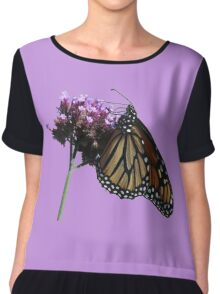 Monarch butterfly sipping Chiffon Top