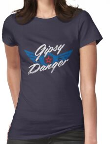 Gipsy Danger Distressed Logo in White Womens Fitted T-Shirt