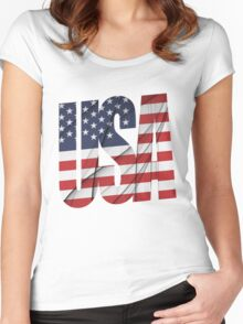USA - United States Flag Women's Fitted Scoop T-Shirt