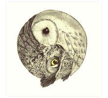Owl Yin Yang Art Print