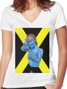 Mystique - X-Men: Days of Future Past (Jennifer Lawrence) [X Logo] Women's Fitted V-Neck T-Shirt