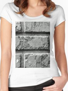 Black and White Brick Wall Women's Fitted Scoop T-Shirt