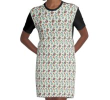 Colourful Leafy Pattern Graphic T-Shirt Dress