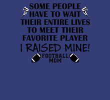 Football Mom - I raised my favorite player (Black print) Women's Fitted V-Neck T-Shirt