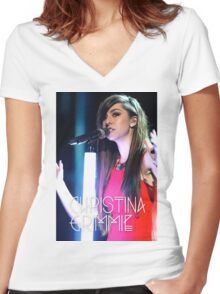 christina grimmie Women's Fitted V-Neck T-Shirt