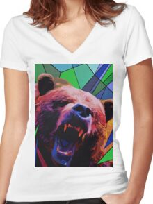 Fragments of Nature, Bear Women's Fitted V-Neck T-Shirt