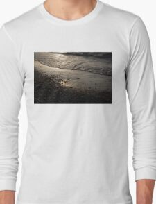 Golden Foam and Pebbles - Early Light at the Breakwater Long Sleeve T-Shirt