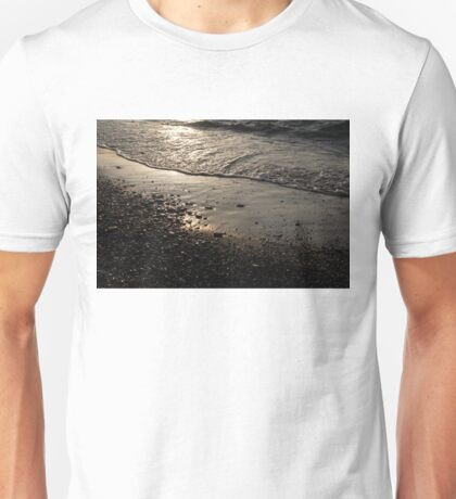 Golden Foam and Pebbles - Early Light at the Breakwater Unisex T-Shirt