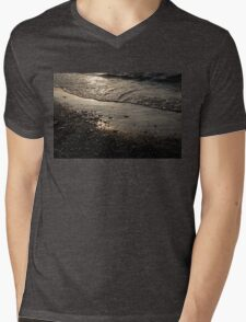 Golden Foam and Pebbles - Early Light at the Breakwater Mens V-Neck T-Shirt