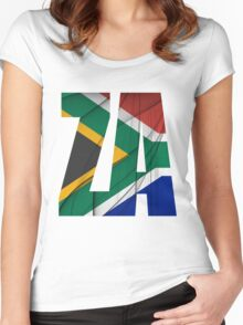 ZA - South Africa Flag Women's Fitted Scoop T-Shirt