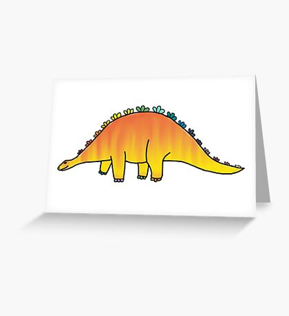 cute orange rainbow dinosaur Greeting Card