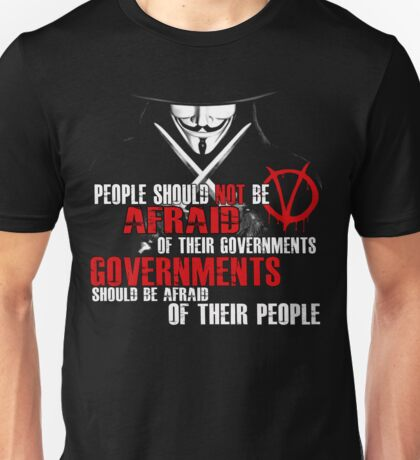 V FOR VENDETTA MOVIE GUY FAWKES CONSPIRACY QUOTE  Unisex T-Shirt