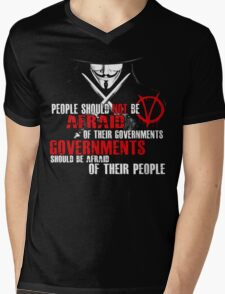 V FOR VENDETTA MOVIE GUY FAWKES CONSPIRACY QUOTE  Mens V-Neck T-Shirt