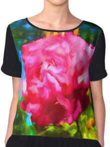 Pink Rose next to the Brick Wall Chiffon Top
