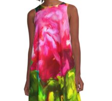 Pink Rose next to the Brick Wall A-Line Dress