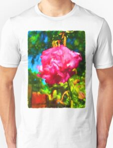 Pink Rose next to the Brick Wall Unisex T-Shirt