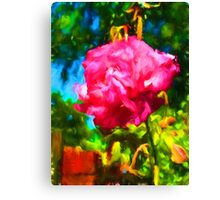 Pink Rose next to the Brick Wall Canvas Print