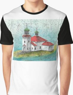 Russian Orthodox Church Unalaska AK Cathy Peek Nautical Map Graphic T-Shirt