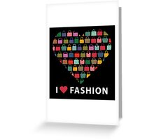 Colorful silhouettes women's handbags in Compositionof heart Greeting Card