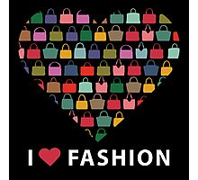 Colorful silhouettes women's handbags in Compositionof heart Photographic Print