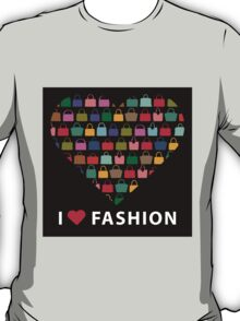 Colorful silhouettes women's handbags in Compositionof heart T-Shirt