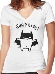 Bat Printed Loose Summer Women's Fitted V-Neck T-Shirt