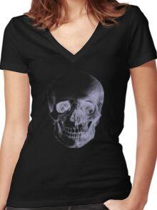 Skull X-Ray  Women's Fitted V-Neck T-Shirt