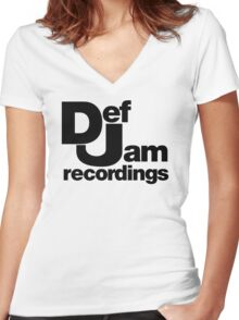 Dj def jam Women's Fitted V-Neck T-Shirt