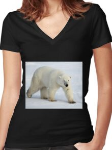 Large Male Polar Bear on the Tundra, Churchill, Canada  Women's Fitted V-Neck T-Shirt