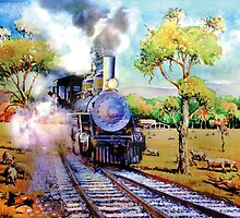 Steam train in OZ outback by Gerard Mignot