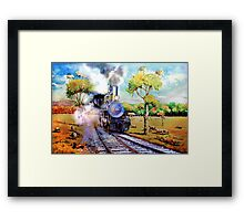 Steam train in OZ outback Framed Print