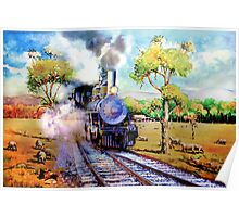 Steam train in OZ outback Poster