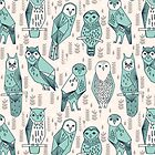 Parliament of Owls - Pale Turquoise by Andrea Lauren by Andrea Lauren