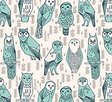 Parliament of Owls - Pale Turquoise by Andrea Lauren by Andrea Lauren