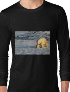 Polar Bear Walking in Footprints, Churchill, Canada Long Sleeve T-Shirt