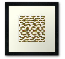 Abstract Golden Fish Pattern Framed Print