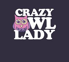 Crazy Owl Lady Womens Fitted T-Shirt