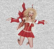 Red Fairy With Golden Curls One Piece - Long Sleeve