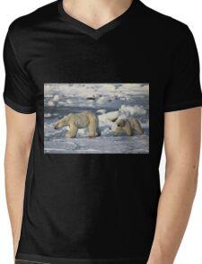 Polar Bear & Cub Walking on the Tundra, Churchill, Canada Mens V-Neck T-Shirt