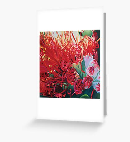 on fire pohutukawa Greeting Card
