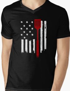 American BBQ Old Glory and spatula Mens V-Neck T-Shirt